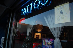 The Coven, a tattoo shop on Bainbridge Avenue, set up drop box for Epiphany Lutheran's toy drive. (Photo by Emily Piccone)
