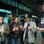 Friends of Grand Avenue murder victim Bimal Chanda held a candlelight vigil on Jerome Avenue. (Photo by Lindsay Armstrong)