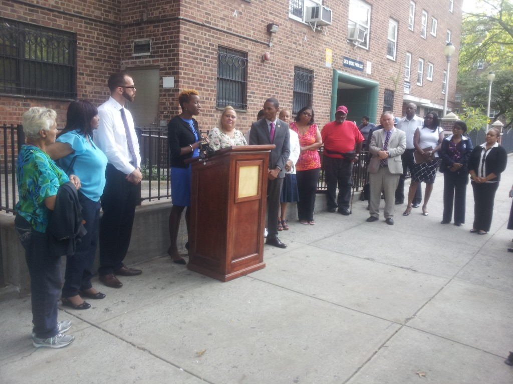 Shola Olatoye, Chair and CEO of the New York City Housing Authority, speaks outside Parkside Houses alongside Councilman Ritchie Torres, who allocated $3 million for improved security.  Photo by Anton K. Nilsson
