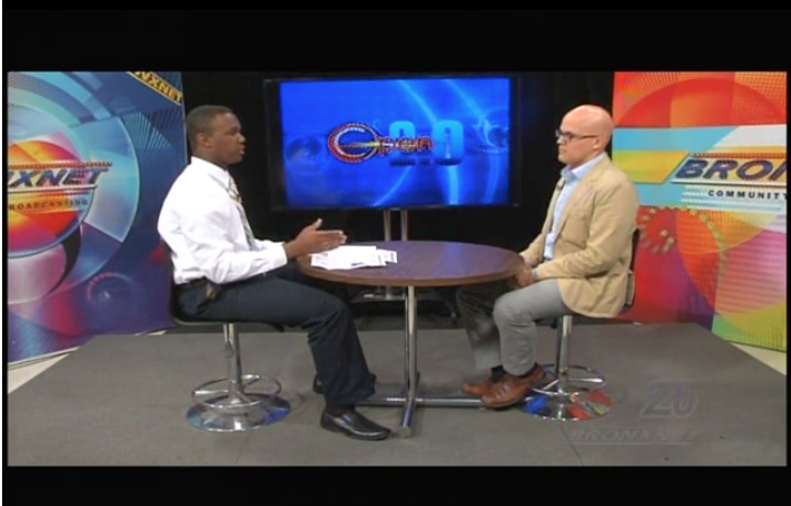 David Cruz, program director of Bronx Youth Heard and editor-in-chief of the Norwood News, chats with OPEN 2.0 host Dondre Lemon about the after school journalism program.  Photo courtesy OPEN 2.0
