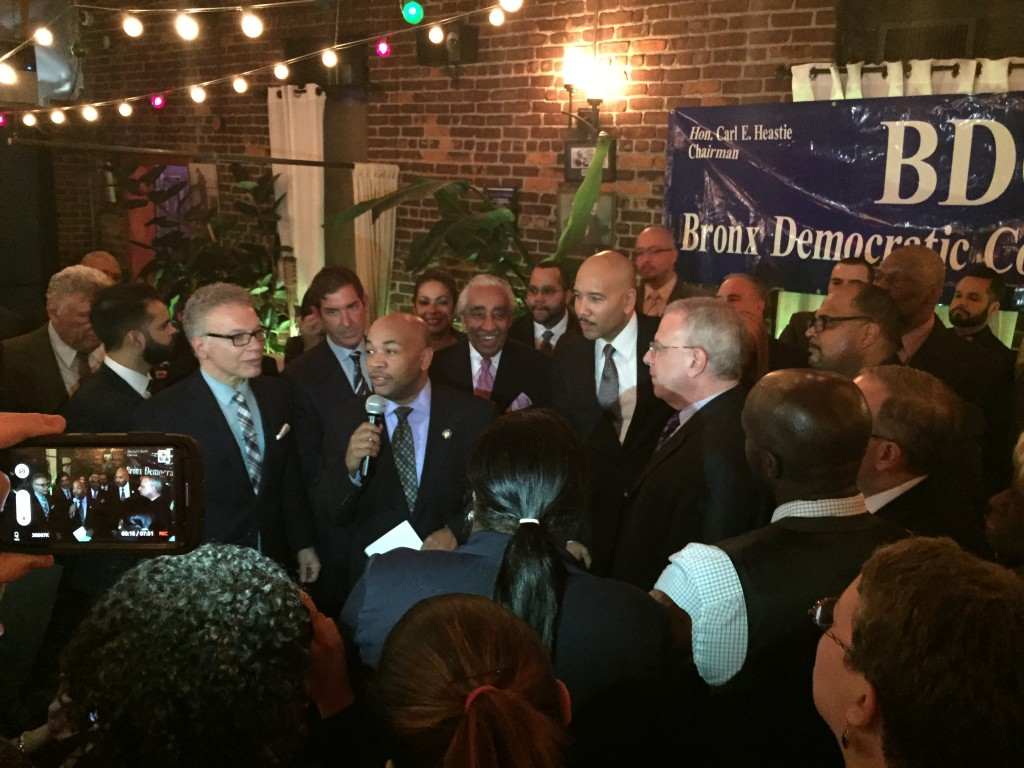 ASSEMBLYMAN CARL HEASTIE (c) flanked by the Bronx Delegation, thanks supporters for backing him for Assembly Speaker. Photo by David Cruz