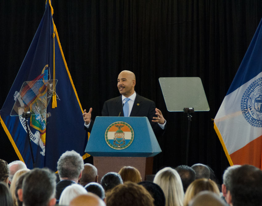DELIVERING HIS SIXTH State of the Borough speech at Bay Plaza Mall, Borough President Ruben Diaz Jr. touted 2014's year of successes. Photo by Jenny Sharp