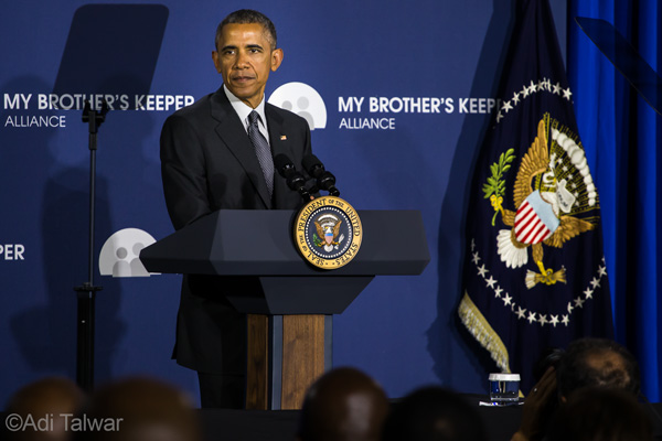 PRESIDENT BARACK OBAMA, at Lehman College,  announces the My Brother's Keeper Alliance.  Photo by Adi Talwar