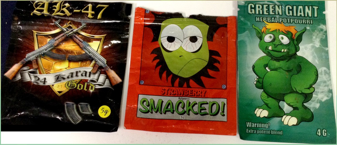 PACKETS OF SYNTHETIC cannabinoids, known in the streets as K2, are sold in various packets in bodegas.  Photo courtesy New York City Department of Health