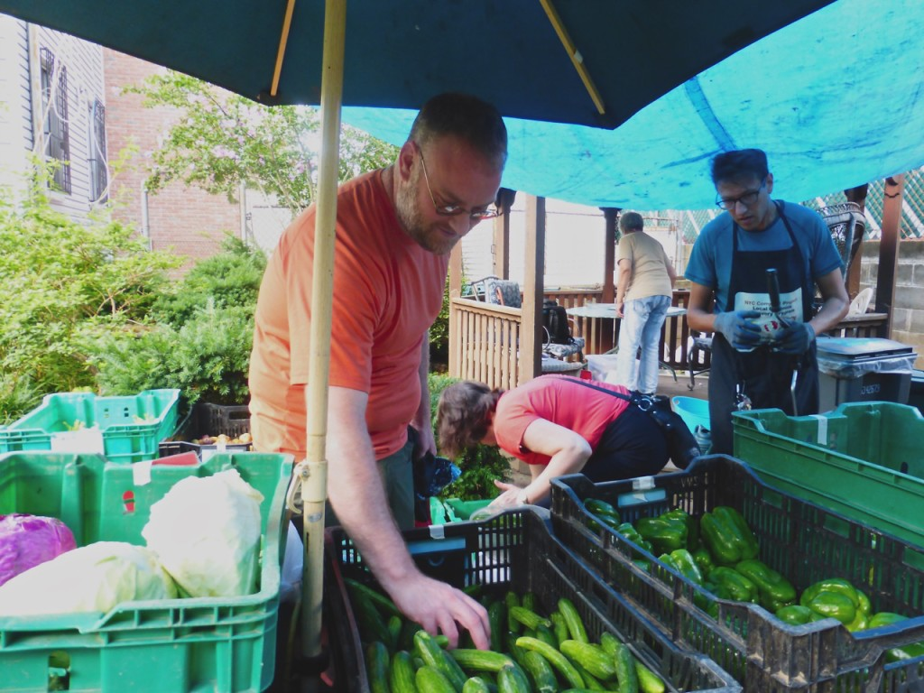 DAMON LITTLE PICKS up his weekly share of produce from the Norwood, Bedford Food Cooperative CSA. Photo by Hayley Camacho