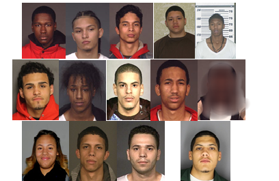 THIRTEEN SUSPECTS WERE rounded up and charged with numerous counts related to gang life.