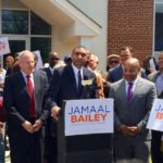 JAMAAL BAILEY, DISTRICT leader for the 83rd Assembly District (at podium), announces a run for the 36th Senate District. Photo by David Cruz